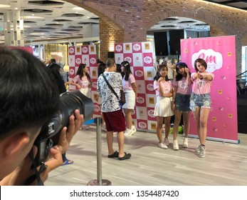 Bangkok, Thailand-March 31,2019 : pop idol event or Thai pop idol 'Cm Cafe' and '7th sense' hi five or hand shake or meet and greet event held at MBK center