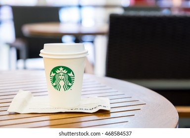 Bangkok ,Thailand-March 6 : Starbucks Hot beverage coffee on table on 6 March 2016 at department store, Bangkok, Thailand.