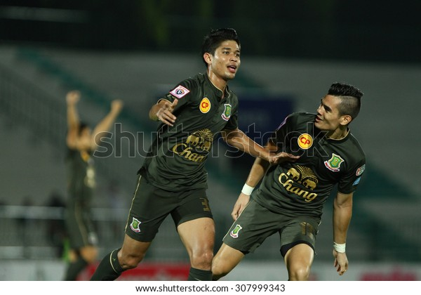 BANGKOK THAILAND-MARCH 8:Anuwat Noicheunphan(L) of Army United F.C.celebrates  during Thai Premier League between Army United F.C.and Ratchaburi F.C.at Thai Army Stadium on March 8,2015in Thailand