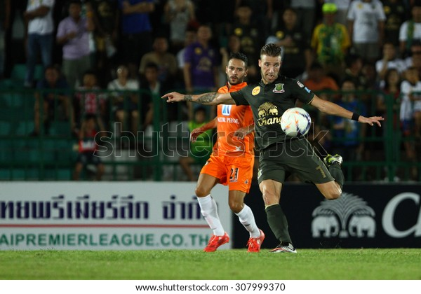 BANGKOK THAILAND-MARCH 8:Melvin de Leeuw(R) of Army United F.C. in action during Thai Premier League between Army United F.C.and Ratchaburi F.C.at Thai Army Stadium on March 8,2015in Thailand