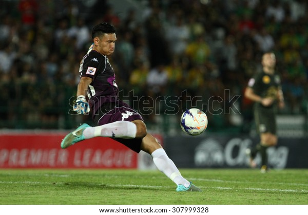BANGKOK THAILAND-MARCH 8:Ukrit Wongmeema of Ratchaburi F.C. in action during Thai Premier League between Army United F.C.and Ratchaburi F.C.at Thai Army Stadium on March 8,2015in Thailand