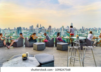 BANGKOK - THAILAND,MAY 19, 2018: Twilight time from Park society rooftop Bar at Sofitel So Bangkok hotel, overlooking a magnificent cityscape