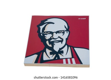 BANGKOK ,THAILAND-may 29,2019:Colonel Sanders logo Kentucky Fried Chicken on white background