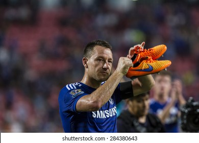 BANGKOK ,THAILAND:MAY 30: John Terry, captain of Chelsea ,During rehearsal inThe Singha Chelsea FC Celebration Match at Rajamanggala Nationnal Stadium, Bangkok, Thailand; 30 May 2015