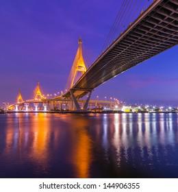 BANGKOK, THAILAND-MAY 5:The Bhumibol Bridge , one of Thailand most famous bridges, spanning the river Choa Phraya on May 5 ,2013 in Bangkok, Thailand.