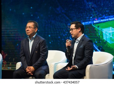 BANGKOK THAILAND-MAY18,2016:Aiyawat sriwattanaprapa vice president of Leicester city visit thailand during press release and interview at Aksra theatre of king power downtown complex rangnam,thailand
