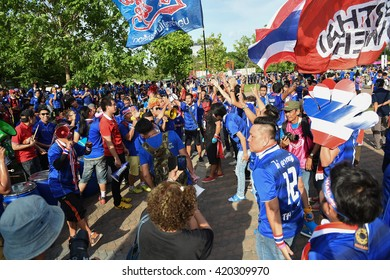 BANGKOK THAILAND-MAY24,2015:Unidentified fans of Thailand supporters during qualifier world cup between Thailand and vietnam at rajamangkala Stadium in Thailand