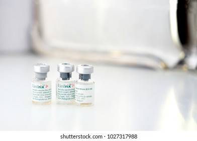 Bangkok ,Thailand,Nov 23,2017,Varilrix vaccine bottles used for prevent shingles or herpes zoster or chicken pox in long life protection