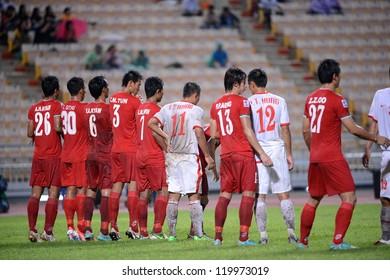 BANGKOK THAILAND-NOV 24:Nguyen Tr?ng Hoang #11 of Vietnam(white) in action during the AFF Suzuki Cup between Vietnam and Myanmar at Rajamangala stadium on Nov24, 2012 in Bangkok,Thailand.