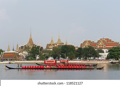 "BANGKOK, THAILAND-NOV. 6 :The rehearsals Royal barge procession on the Chao Phraya river for a traditional royal ""Kratin"" ceremony marking the end of buddhist lent on November 6, 2012 in Bangkok"