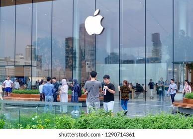 Bangkok, Thailand-November 12, 2018: Bangkok Riverside, Apple Store at Icon Siam Department Store with Magnolias Waterfront Residences Condominium.