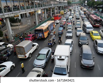 Bangkok, Thailand-November 15, 2019: Traffic jam in the Asian capital city of Bangkok. Land vehicle is on the road.