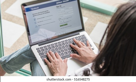 BANGKOK, THAILAND-NOVEMBER 16, 2016: Facebook social network on pc laptop with user sign up or log in registration screen.