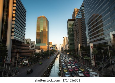 Bangkok, Thailand-November 24, 2019 : The traffic congestion on the outbound Sathorn road Is another road that is famous for .traffic jams during rush hour of Bangkok, Thailand in the evening