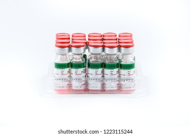 Bangkok, Thailand-November 6, 2018 Vaccine against rabies (Bayovac tradname) use for prevention rabies in  animal at Bangkok, Thailand isolated on white background