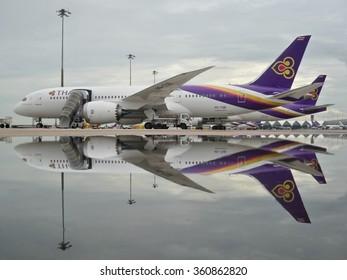 BANGKOK, THAILAND-OCT 08: Thai Airways Boeing 787 Dreamliner parking after rain on Oct 08,2014 in Bangkok.