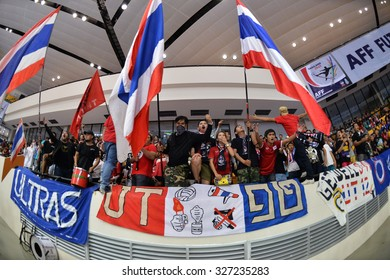 BANGKOK THAILAND-OCT11:Unidentified fans of Thailand supporters during 2015 AFF Futsal Championship Match between Thailand and Brunei at Bangkok Arena Stadium on October11,2015 in Thailand