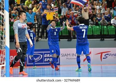 BANGKOK THAILAND-OCT14:Jetsada Chudech(Blue) of Thailand celebrates during 2015 AFF Futsal Championship Match between Thailand and Vietnam at Bangkok Arena Stadium on October14,2015 in Thailand