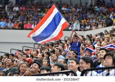 BANGKOK THAILAND-OCT16:Unidentified fans of Thailand supporters during 2015 AFF Futsal Championship Match between Thailand and Australia at Bangkok Arena Stadium on October16,2015 in Thailand