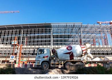 Bangkok, Thailand-October 12, 2018: Construction site The new mass transportation center of Bang Sue grand railway station.