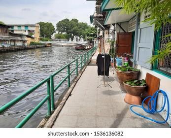 Bangkok, Thailand-October 20, 2019 : A narrow aisle along The Saen-Saeb Canal near Phan Fa Pier in the center of Bangkok.