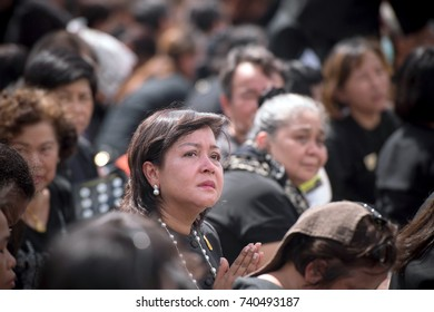 Bangkok, Thailand:October 21, 2017 Thai people attend to watch the royal procession at Sanam Luangin Sanam Luang Ceremonial Ground.