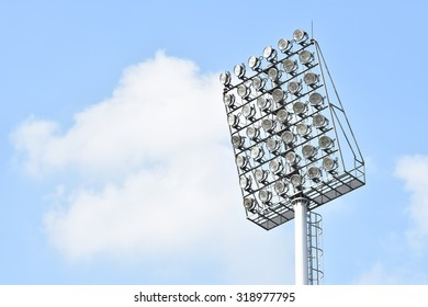 BANGKOK THAILAND-SEP20 :Sportlight at PAT Stadium during Thai Premier League2015 between Thai Port Fc and Chonburi F.C. at PAT Stadium on September20,2015 in Bangkok Thailand