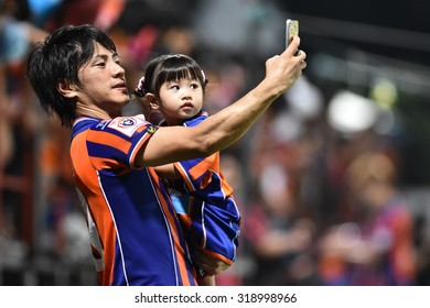 BANGKOK THAILAND-SEP20:Hironori Saruta of Thai Port Fc Selfie during Thai Premier League2015 between Thai Port Fc and Chonburi F.C.at PAT Stadium on September20,2015 in Bangkok Thailand