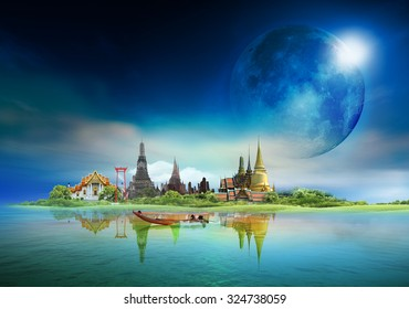 "bangkok travel, concept ""Elements of this image furnished by NASA"""