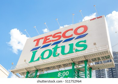 Bangkok, TThailand - August 20, 2016: Signs of Tesco Lotus