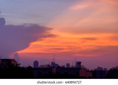 Bangkok twilight sunset sky.
