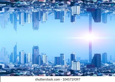 Bangkok Upside down city in inception Sci-fi futuristic fantasy effect style, Sci-fi Concept city