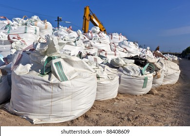 Bangkok used these Jumbo FICB sandbags to build sandbag dike in controling flood waters.