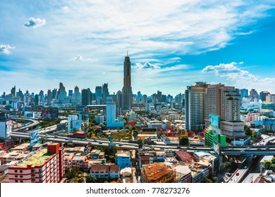 BANGKOK -  :View on the  city and Baiyok Sky hotel of Bangkok on 31 December 2015. Baiyoke Sky Hotel, the tallest hotel in Southeast Asia and the third-tallest all-hotel structure in the world