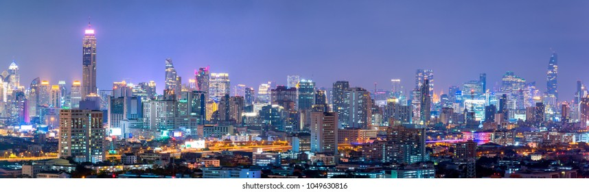 BANGKOK-19 MAR: View of the Bangkok Skyscraper on 19 March 2018 in Bangkok, Thailand.Bangkok is the most populated city in Southeast Asia with one sixth of population live and visit Bangkok every day