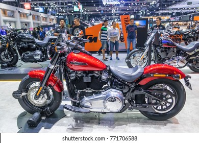 BANGKOK-DEC 07: Harley Davidson New Softail Slim on Display at Thailand International Motor Expo 2017 ,December 07,2017 in Bangkok, Thailand