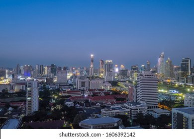 BANGKOK-DEC 31: View of the business area on 31 December, 2019 in Bangkok, Thailand. Bangkok is the most populated city in Southeast Asia with one sixth of population live and visit Bangkok every day