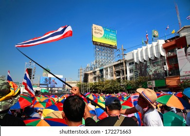 BANGKOK-JAN 13:Unidentified protesters gather at Ladprao junction to anti government and ask to reform before election with 'Shutdown Bangkok concept' on Jan 13, 2014 in Bangkok, Thailand.