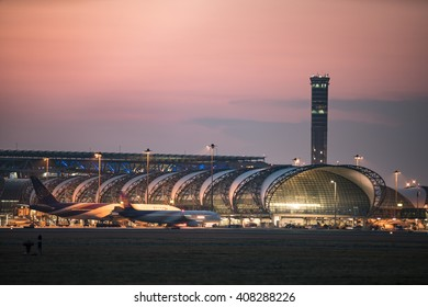 BANGKOK-January 2: Suvarnabhumi Airport at sunset on January 2, 2016 in Bangkok ,Thailand. This airport is the world's third largest single building airport terminal designed by Helmut Jahn.
