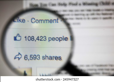 Bangkok-January 21 2015: Facebook's Viral Shares and Likes. Facebook is one of the largest online social networking services
