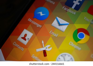 BANGKOK-JANUARY11 2015: Email Icon on Phone.  Email is a method of exchanging digital messages from an author to one or more recipients