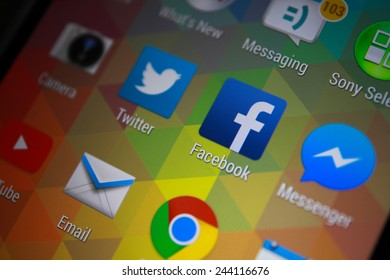 BANGKOK-JANUARY11 2015: Facebook Icon on Phone. Facebook is an online social networking service headquartered in Menlo Park, California.