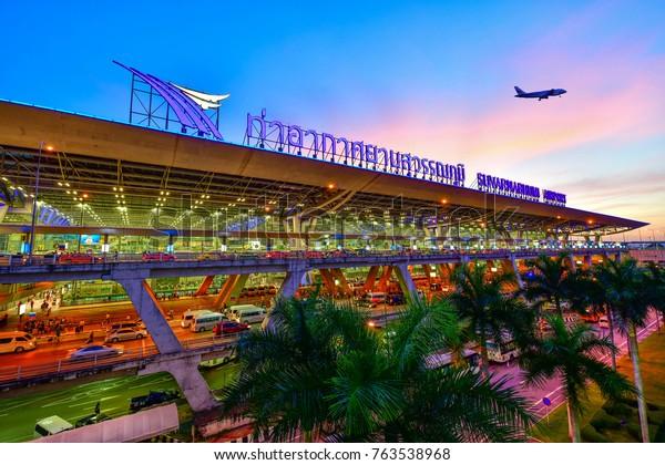 BANGKOK-NOVEMBER 27: Suvarnabhumi Airport at night on Nov 27, 2017 in Bangkok ,Thailand. This airport is the world's third largest single building airport terminal designed by Helmut Jahn.