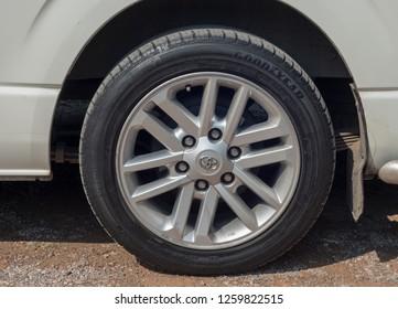 Bangkok-Rama 9, 17 December 2018 Tyres Goodyear. Automotive technology-design made in Thailand.