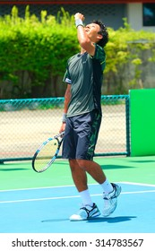 BANGKOK-SEPTEMBER 6 : Yuichi Sugita (Japan) in Chang-Sat Bangkok Open 2015 (ATP Challenger Tour) at Rama Gardens Hotel on September 6, 2015 in Bangkok, Thailand. He won in this maych.