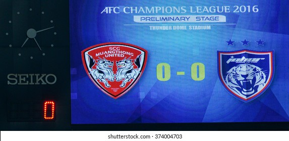 BANGKOK-THAI FEB2:Score board show the score in action during the AFC Champions League2016 between Muangthong Utd - Johor Darul Ta'zim at SCG Stadium on February2,2016 in Bangkok,Thailand