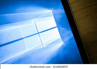 BANGKOK,THAILAClose-up on Microsoft Window 10 Screen Background on the Microsoft  Surface on September 25,2019