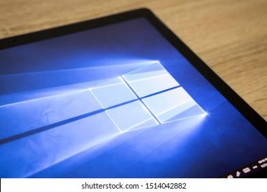 BANGKOK,THAILAClose-up on Microsoft Window 10 Screen Background on the Microsoft  Surface on September 25,2019