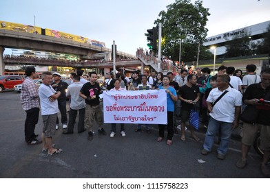 Bangkok/Thailand - 05 24 2014: People protest against the coup at Victory Monument.