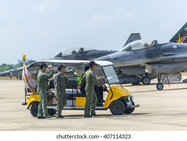 Bangkok,Thailand - 10 January 2016 : The flight engineer and pilot was coming to the fighter plane at Don muang international airport